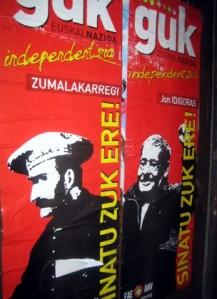 Cartel de ANV del año 2008 con las figuras del general Zumalakarregi y Jon Idígoras. Manuel Martorell